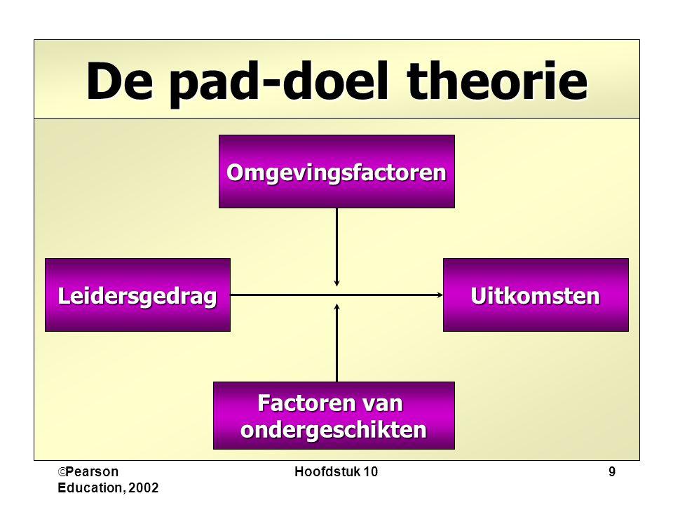  Pearson Education, 2002 Hoofdstuk 109 De pad-doel theorie Omgevingsfactoren UitkomstenLeidersgedrag Factoren van ondergeschikten