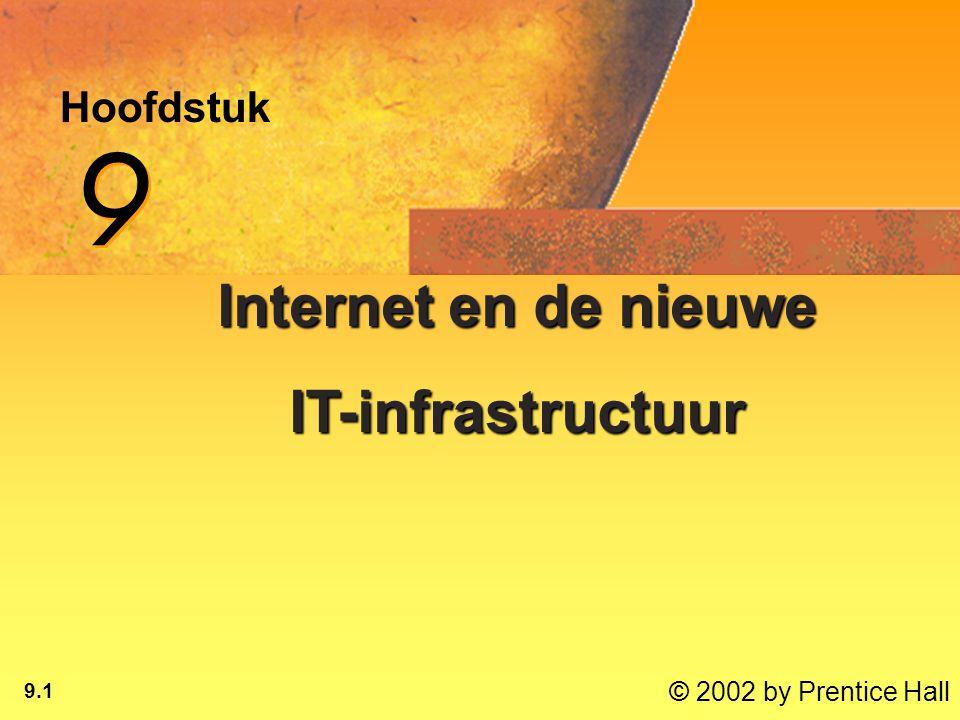© 2002 by Prentice Hall 9.1 Hoofdstuk 9 9 Internet en de nieuwe IT-infrastructuur