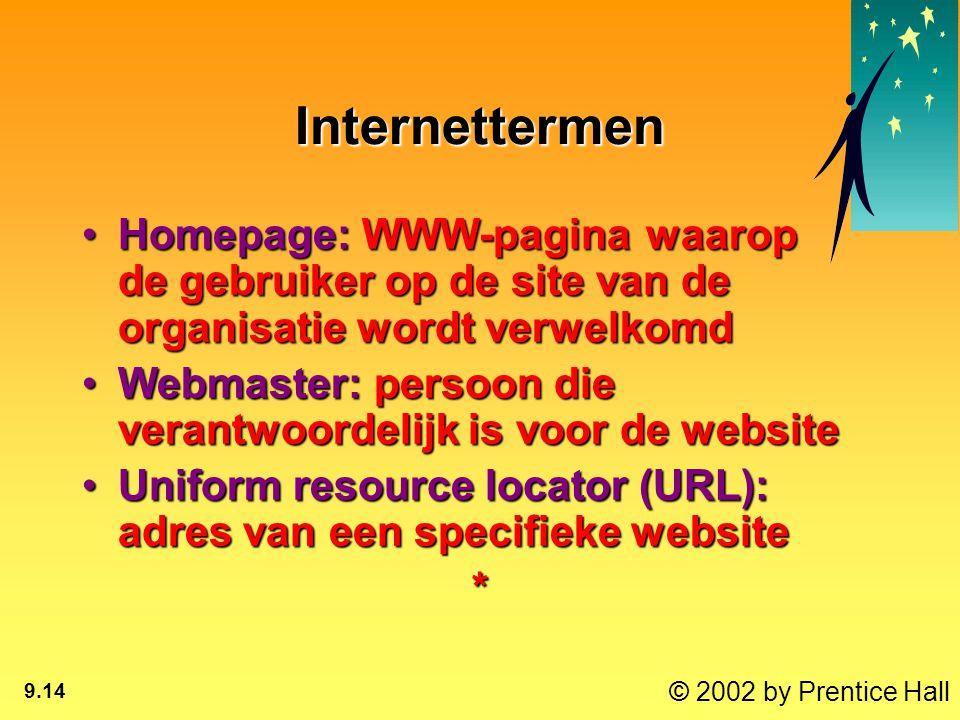 © 2002 by Prentice Hall 9.14 Internettermen Homepage: WWW-pagina waarop de gebruiker op de site van de organisatie wordt verwelkomdHomepage: WWW-pagin