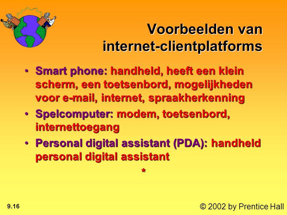 © 2002 by Prentice Hall 9.16 Voorbeelden van internet-clientplatforms Smart phone: handheld, heeft een klein scherm, een toetsenbord, mogelijkheden voor e-mail, internet, spraakherkenningSmart phone: handheld, heeft een klein scherm, een toetsenbord, mogelijkheden voor e-mail, internet, spraakherkenning Spelcomputer: modem, toetsenbord, internettoegangSpelcomputer: modem, toetsenbord, internettoegang Personal digital assistant (PDA): handheld personal digital assistantPersonal digital assistant (PDA): handheld personal digital assistant*