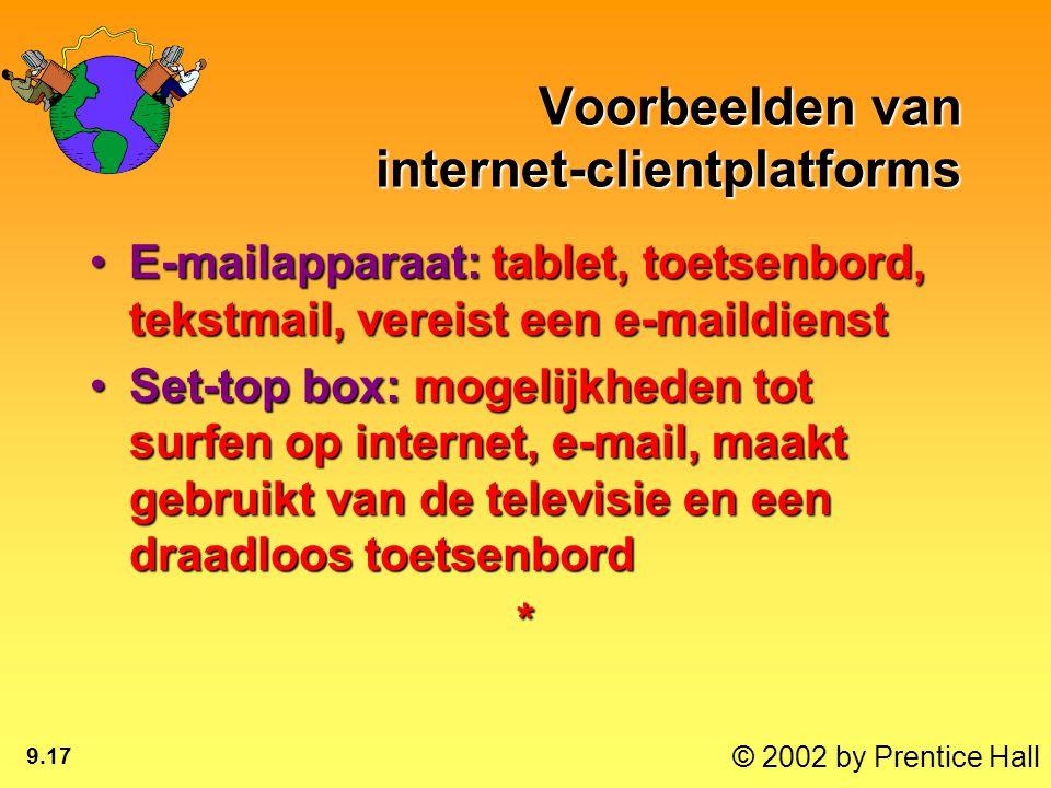 © 2002 by Prentice Hall 9.17 Voorbeelden van internet-clientplatforms E-mailapparaat: tablet, toetsenbord, tekstmail, vereist een e-maildienstE-mailap