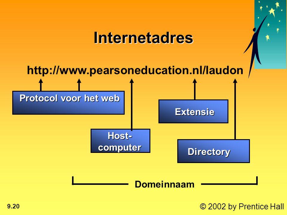 © 2002 by Prentice Hall 9.20 Internetadres http://www.pearsoneducation.nl/laudon Protocol voor het web Protocol voor het web Host- computer Directory Extensie Domeinnaam