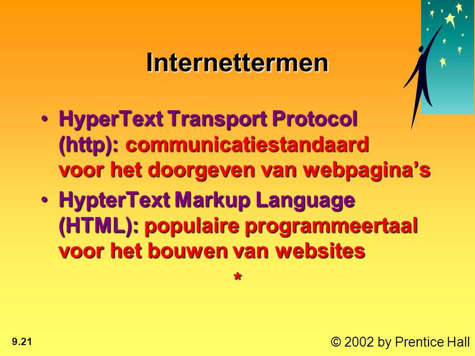 © 2002 by Prentice Hall 9.21 Internettermen HyperText Transport Protocol (http): communicatiestandaard voor het doorgeven van webpagina'sHyperText Transport Protocol (http): communicatiestandaard voor het doorgeven van webpagina's HypterText Markup Language (HTML): populaire programmeertaal voor het bouwen van websitesHypterText Markup Language (HTML): populaire programmeertaal voor het bouwen van websites*