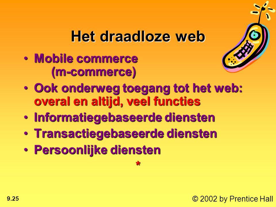 © 2002 by Prentice Hall 9.25 Het draadloze web Mobile commerce (m-commerce)Mobile commerce (m-commerce) Ook onderweg toegang tot het web: overal en altijd, veel functiesOok onderweg toegang tot het web: overal en altijd, veel functies Informatiegebaseerde dienstenInformatiegebaseerde diensten Transactiegebaseerde dienstenTransactiegebaseerde diensten Persoonlijke dienstenPersoonlijke diensten*
