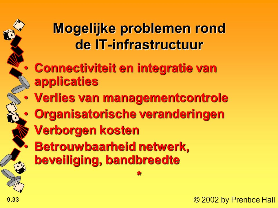 © 2002 by Prentice Hall 9.33 Mogelijke problemen rond de IT-infrastructuur Connectiviteit en integratie van applicatiesConnectiviteit en integratie van applicaties Verlies van managementcontroleVerlies van managementcontrole Organisatorische veranderingenOrganisatorische veranderingen Verborgen kostenVerborgen kosten Betrouwbaarheid netwerk, beveiliging, bandbreedteBetrouwbaarheid netwerk, beveiliging, bandbreedte*