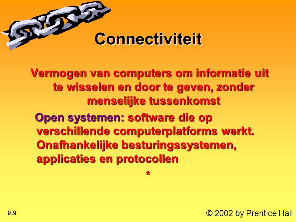 © 2002 by Prentice Hall 9.9 Connectiviteit Vermogen van computers om informatie uit te wisselen en door te geven, zonder menselijke tussenkomst Vermogen van computers om informatie uit te wisselen en door te geven, zonder menselijke tussenkomst Open systemen: software die op verschillende computerplatforms werkt.
