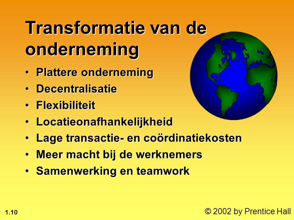 1.10 © 2002 by Prentice Hall Transformatie van de onderneming Plattere ondernemingPlattere onderneming DecentralisatieDecentralisatie FlexibiliteitFle