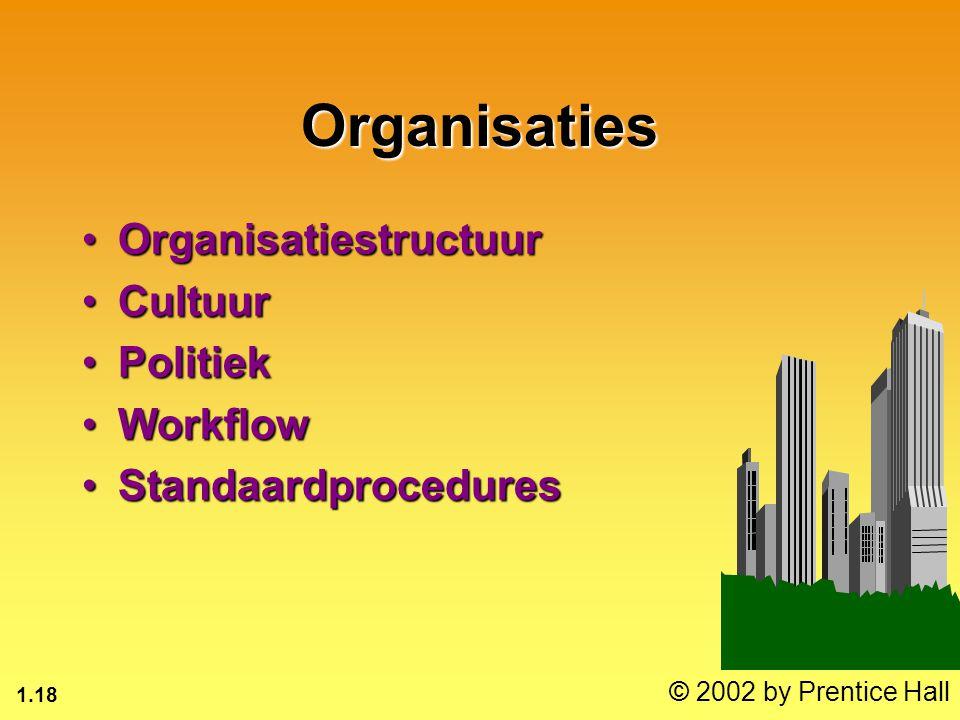 1.18 © 2002 by Prentice Hall Organisaties OrganisatiestructuurOrganisatiestructuur CultuurCultuur PolitiekPolitiek WorkflowWorkflow StandaardproceduresStandaardprocedures