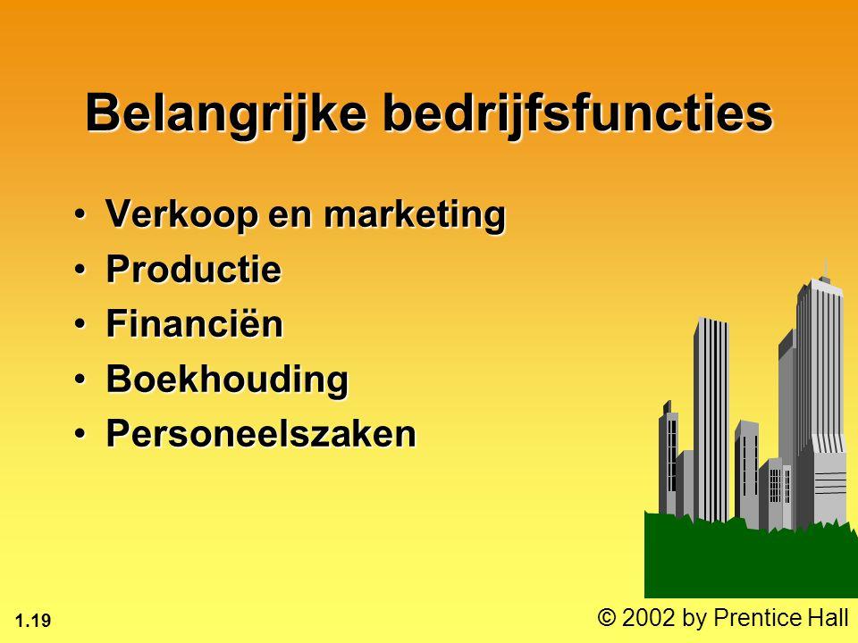 1.19 © 2002 by Prentice Hall Belangrijke bedrijfsfuncties Verkoop en marketingVerkoop en marketing ProductieProductie FinanciënFinanciën BoekhoudingBo