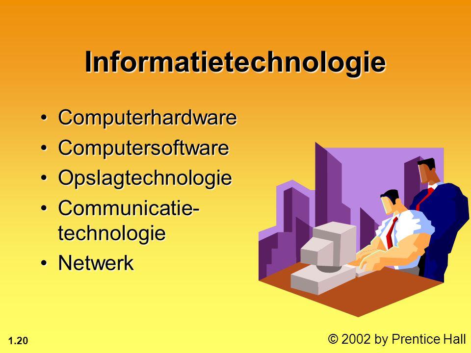 1.20 © 2002 by Prentice Hall Informatietechnologie ComputerhardwareComputerhardware ComputersoftwareComputersoftware OpslagtechnologieOpslagtechnologie Communicatie- technologieCommunicatie- technologie NetwerkNetwerk