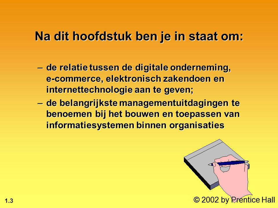 1.3 © 2002 by Prentice Hall Na dit hoofdstuk ben je in staat om: –de relatie tussen de digitale onderneming, e-commerce, elektronisch zakendoen en int