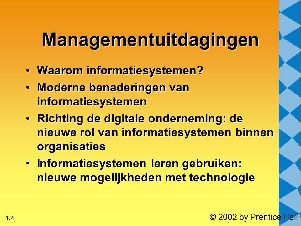 1.4 © 2002 by Prentice Hall Managementuitdagingen Waarom informatiesystemen?Waarom informatiesystemen? Moderne benaderingen van informatiesystemenMode