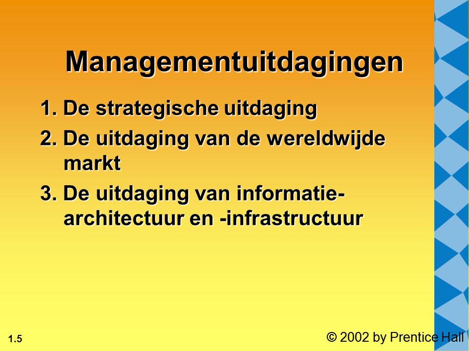 1.5 © 2002 by Prentice Hall Managementuitdagingen 1. De strategische uitdaging 2. De uitdaging van de wereldwijde markt 3. De uitdaging van informatie