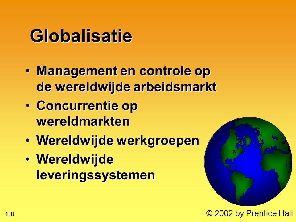 1.8 © 2002 by Prentice Hall Globalisatie Management en controle op de wereldwijde arbeidsmarktManagement en controle op de wereldwijde arbeidsmarkt Concurrentie op wereldmarktenConcurrentie op wereldmarkten Wereldwijde werkgroepenWereldwijde werkgroepen Wereldwijde leveringssystemenWereldwijde leveringssystemen