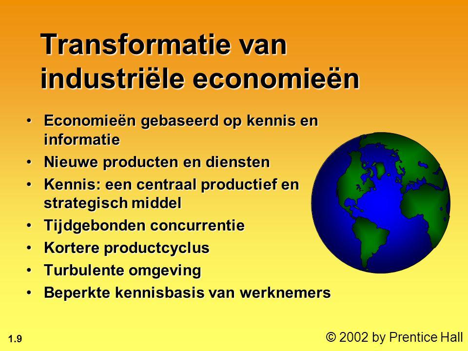 1.9 © 2002 by Prentice Hall Transformatie van industriële economieën Economieën gebaseerd op kennis en informatieEconomieën gebaseerd op kennis en informatie Nieuwe producten en dienstenNieuwe producten en diensten Kennis: een centraal productief en strategisch middelKennis: een centraal productief en strategisch middel Tijdgebonden concurrentieTijdgebonden concurrentie Kortere productcyclusKortere productcyclus Turbulente omgevingTurbulente omgeving Beperkte kennisbasis van werknemersBeperkte kennisbasis van werknemers