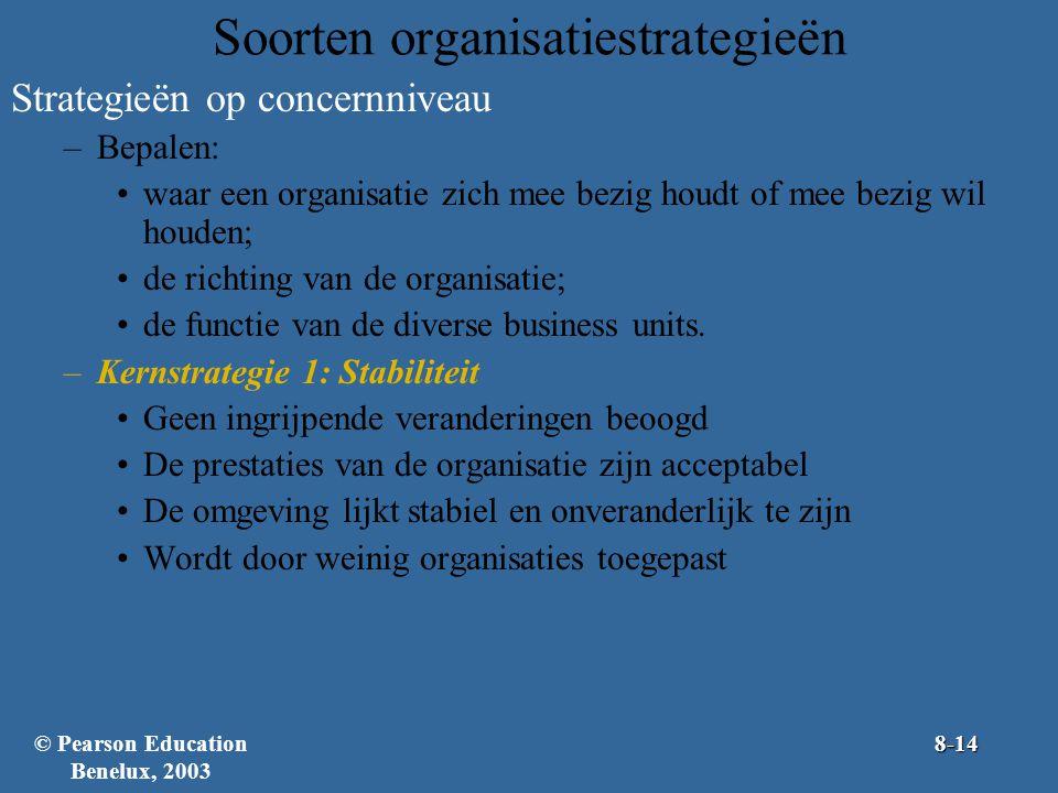 Soorten organisatiestrategieën Strategieën op concernniveau –Bepalen: waar een organisatie zich mee bezig houdt of mee bezig wil houden; de richting v