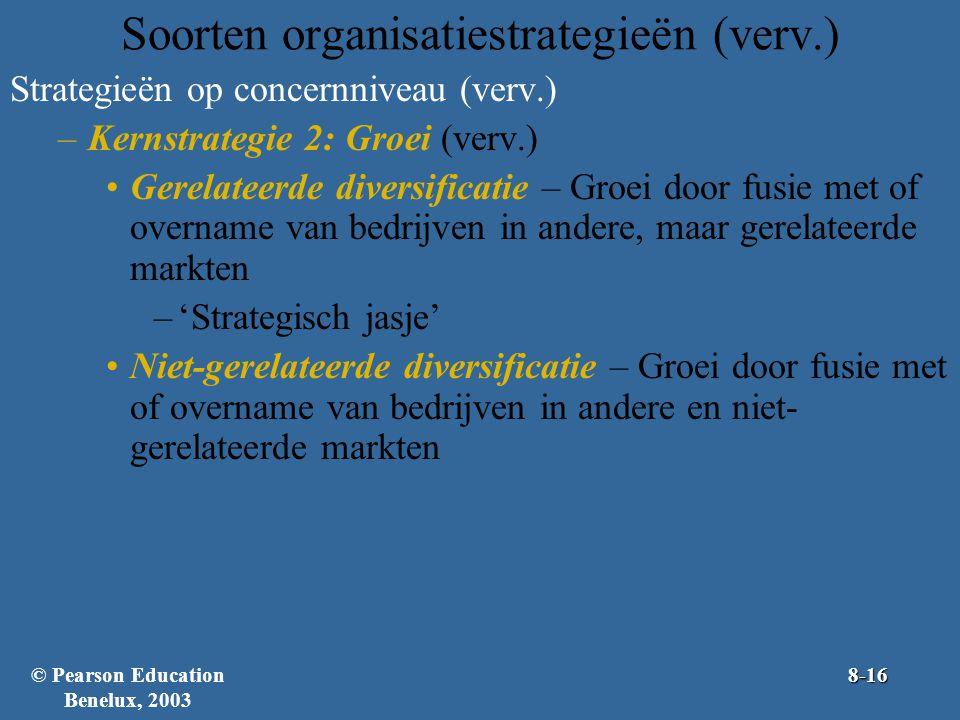 Soorten organisatiestrategieën (verv.) Strategieën op concernniveau (verv.) –Kernstrategie 2: Groei (verv.) Gerelateerde diversificatie – Groei door f