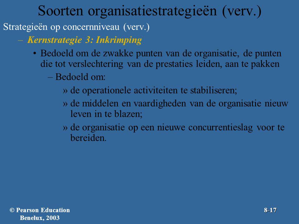 Soorten organisatiestrategieën (verv.) Strategieën op concernniveau (verv.) –Kernstrategie 3: Inkrimping Bedoeld om de zwakke punten van de organisati