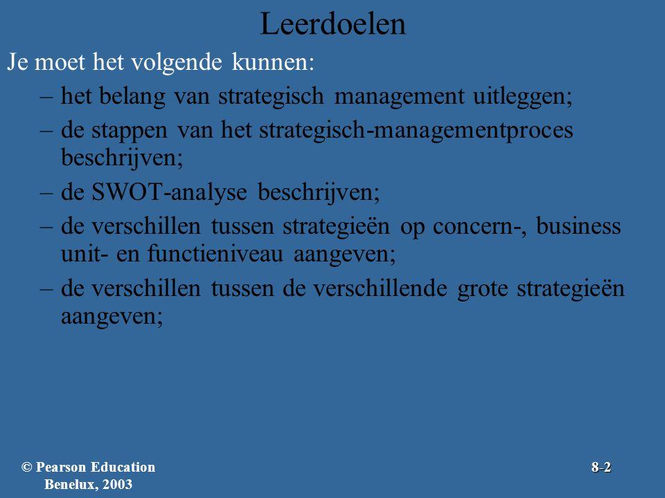 Leerdoelen Je moet het volgende kunnen: –het belang van strategisch management uitleggen; –de stappen van het strategisch-managementproces beschrijven