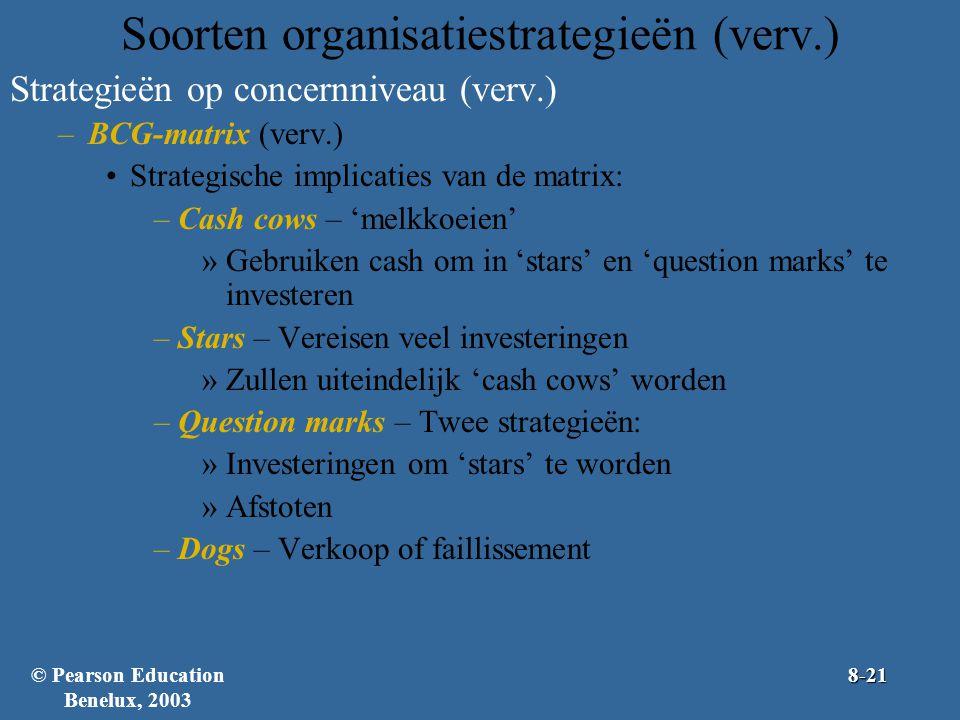 Soorten organisatiestrategieën (verv.) Strategieën op concernniveau (verv.) –BCG-matrix (verv.) Strategische implicaties van de matrix: –Cash cows – '
