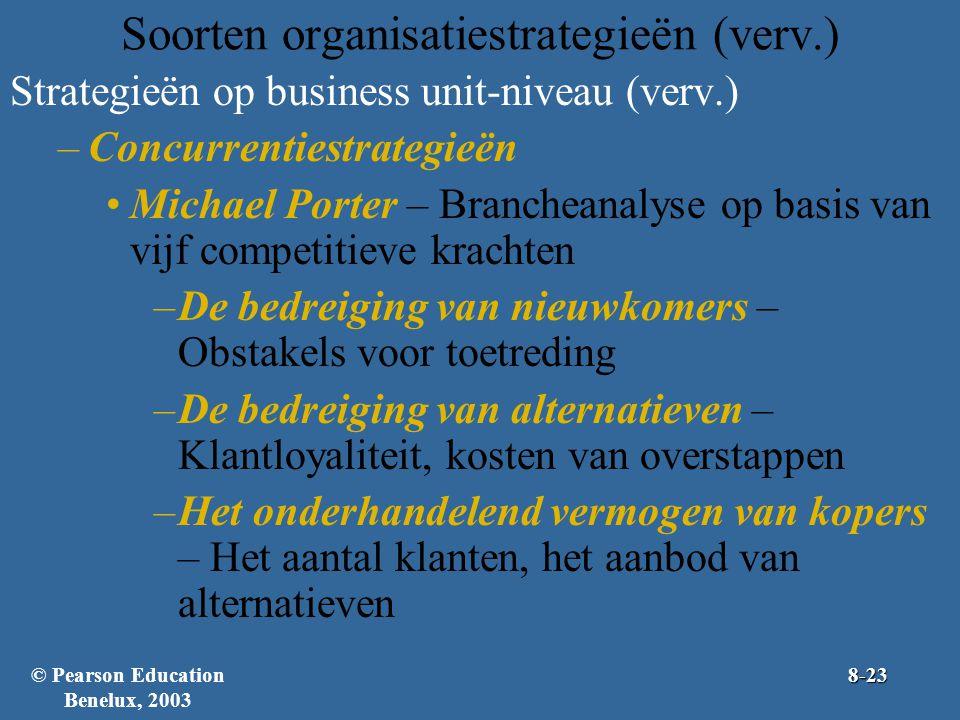 Soorten organisatiestrategieën (verv.) Strategieën op business unit-niveau (verv.) –Concurrentiestrategieën Michael Porter – Brancheanalyse op basis van vijf competitieve krachten –De bedreiging van nieuwkomers – Obstakels voor toetreding –De bedreiging van alternatieven – Klantloyaliteit, kosten van overstappen –Het onderhandelend vermogen van kopers – Het aantal klanten, het aanbod van alternatieven © Pearson Education Benelux, 20038-23