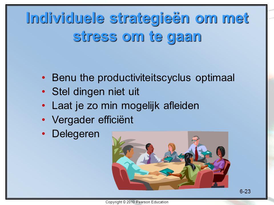 6-23 Copyright © 2010 Pearson Education Benu the productiviteitscyclus optimaal Stel dingen niet uit Laat je zo min mogelijk afleiden Vergader efficië