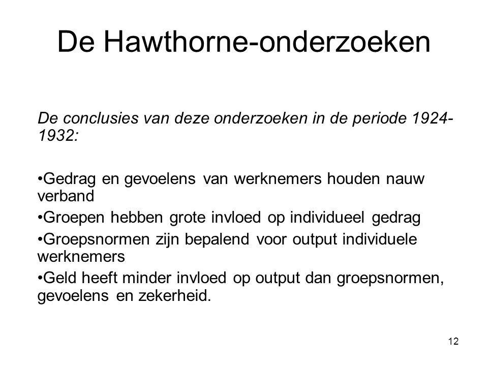 12 De Hawthorne-onderzoeken De conclusies van deze onderzoeken in de periode 1924- 1932: Gedrag en gevoelens van werknemers houden nauw verband Groepe