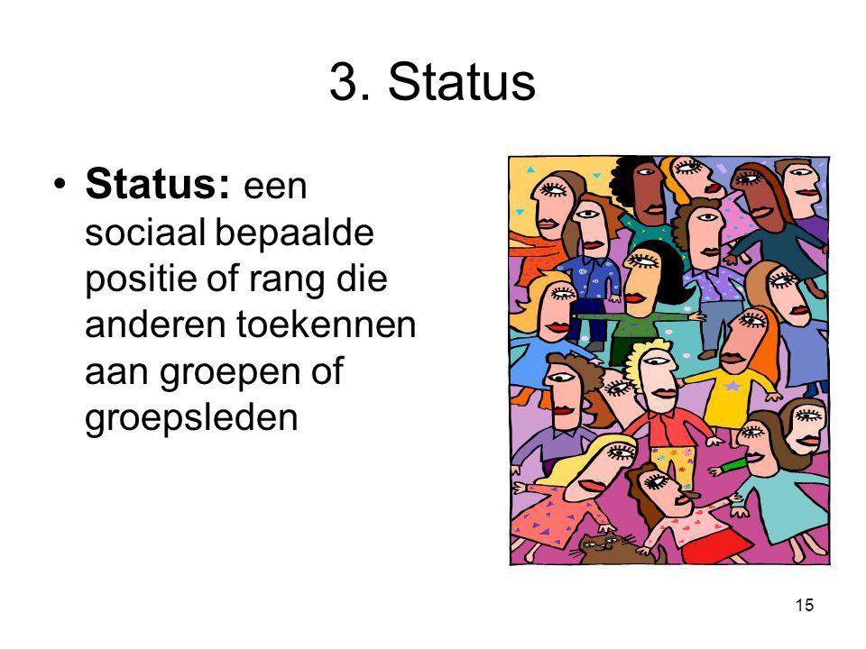 15 3. Status Status: een sociaal bepaalde positie of rang die anderen toekennen aan groepen of groepsleden