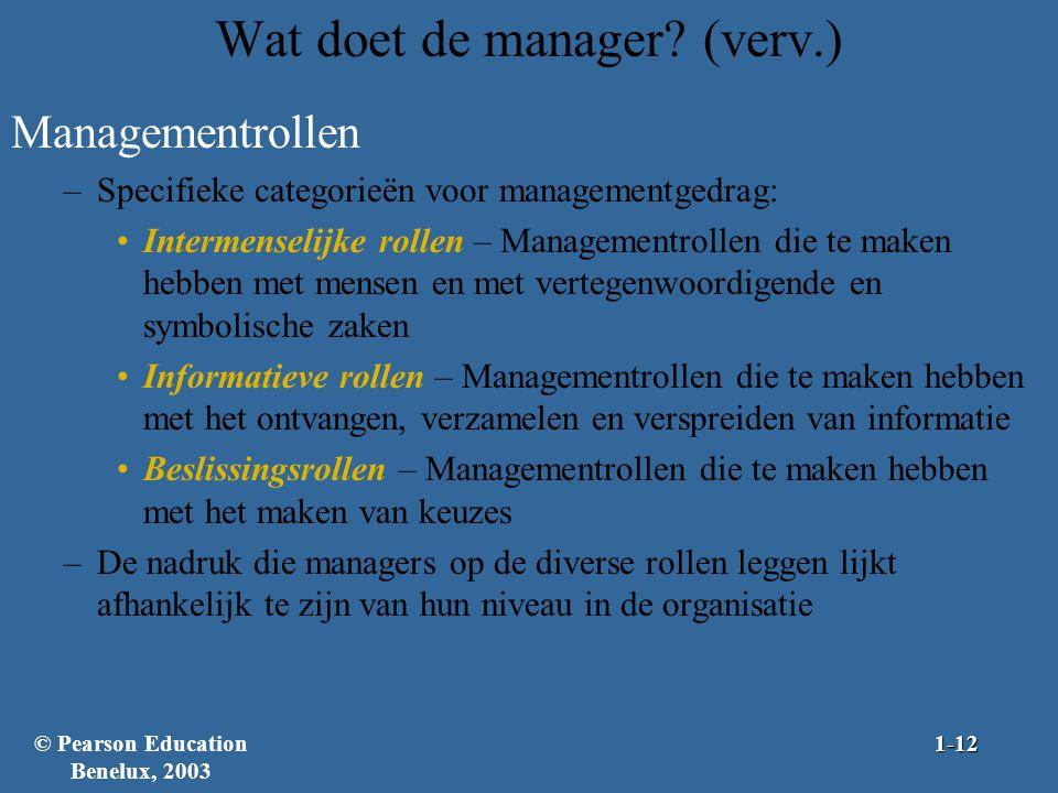 Wat doet de manager? (verv.) Managementrollen –Specifieke categorieën voor managementgedrag: Intermenselijke rollen – Managementrollen die te maken he