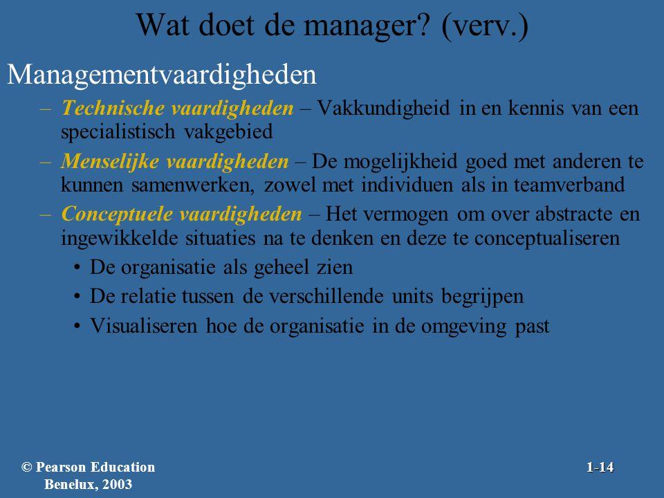 Wat doet de manager? (verv.) Managementvaardigheden –Technische vaardigheden – Vakkundigheid in en kennis van een specialistisch vakgebied –Menselijke