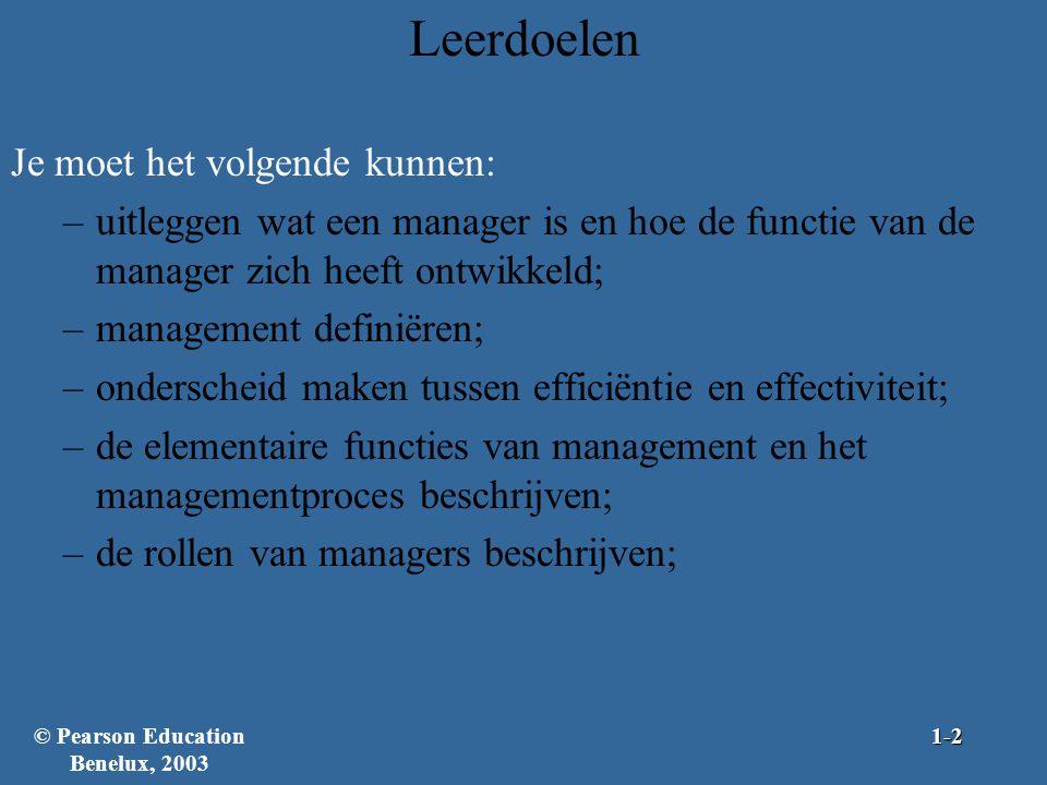 Leerdoelen Je moet het volgende kunnen: –uitleggen wat een manager is en hoe de functie van de manager zich heeft ontwikkeld; –management definiëren;