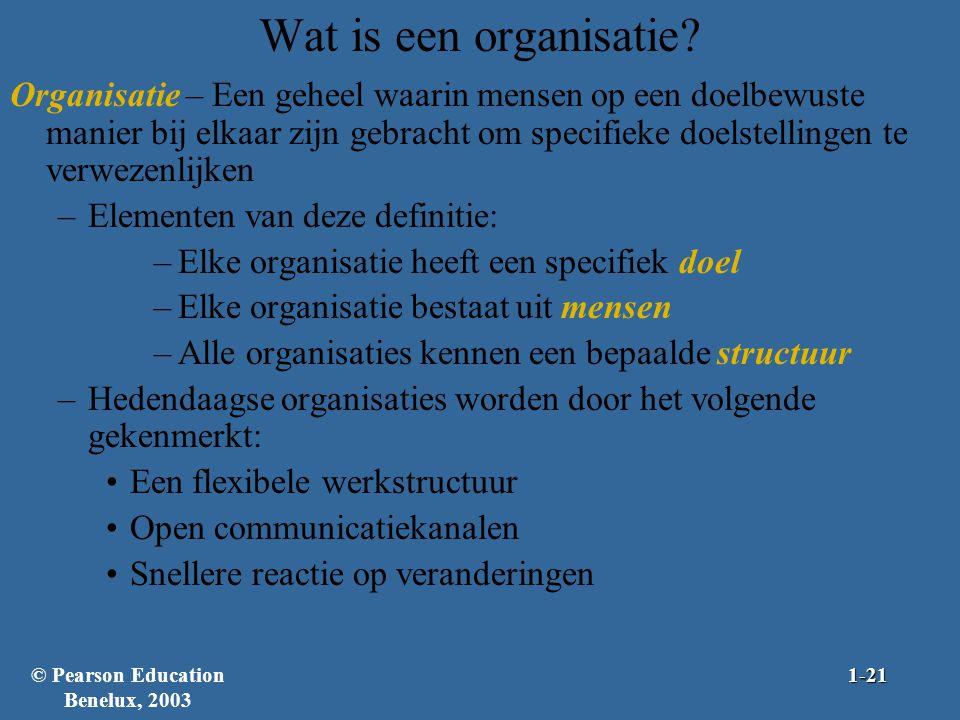Wat is een organisatie? Organisatie – Een geheel waarin mensen op een doelbewuste manier bij elkaar zijn gebracht om specifieke doelstellingen te verw