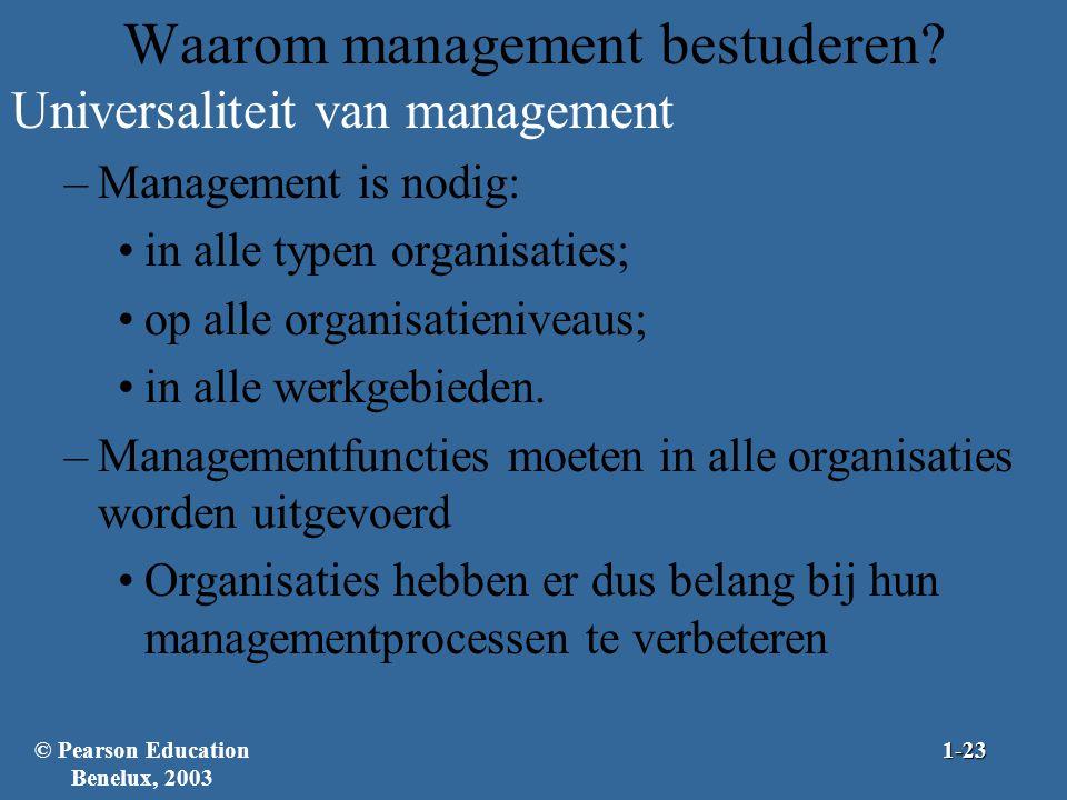 Waarom management bestuderen? Universaliteit van management –Management is nodig: in alle typen organisaties; op alle organisatieniveaus; in alle werk