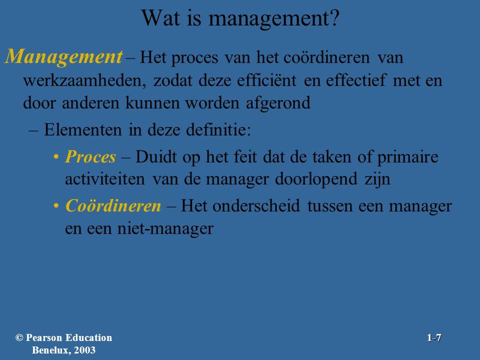 Wat is management? Management – Het proces van het coördineren van werkzaamheden, zodat deze efficiënt en effectief met en door anderen kunnen worden
