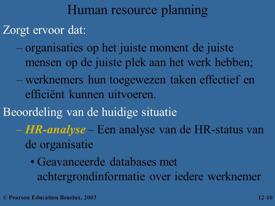 Human resource planning Zorgt ervoor dat: –organisaties op het juiste moment de juiste mensen op de juiste plek aan het werk hebben; –werknemers hun toegewezen taken effectief en efficiënt kunnen uitvoeren.