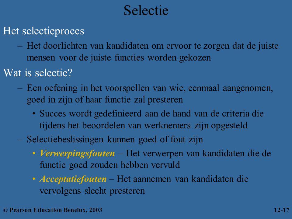 Selectie Het selectieproces –Het doorlichten van kandidaten om ervoor te zorgen dat de juiste mensen voor de juiste functies worden gekozen Wat is selectie.