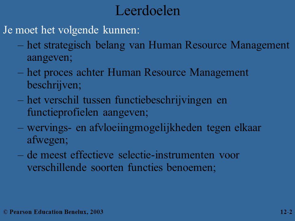 Leerdoelen (verv.) Je moet het volgende kunnen: –de verschillende categorieën van training benoemen; –de verschillende methoden voor prestatiebeoordeling benoemen; –weten welke onderdelen deel moeten uitmaken van het salarissysteem van een organisatie; –actuele vraagstukken over Human Resource Management bespreken.