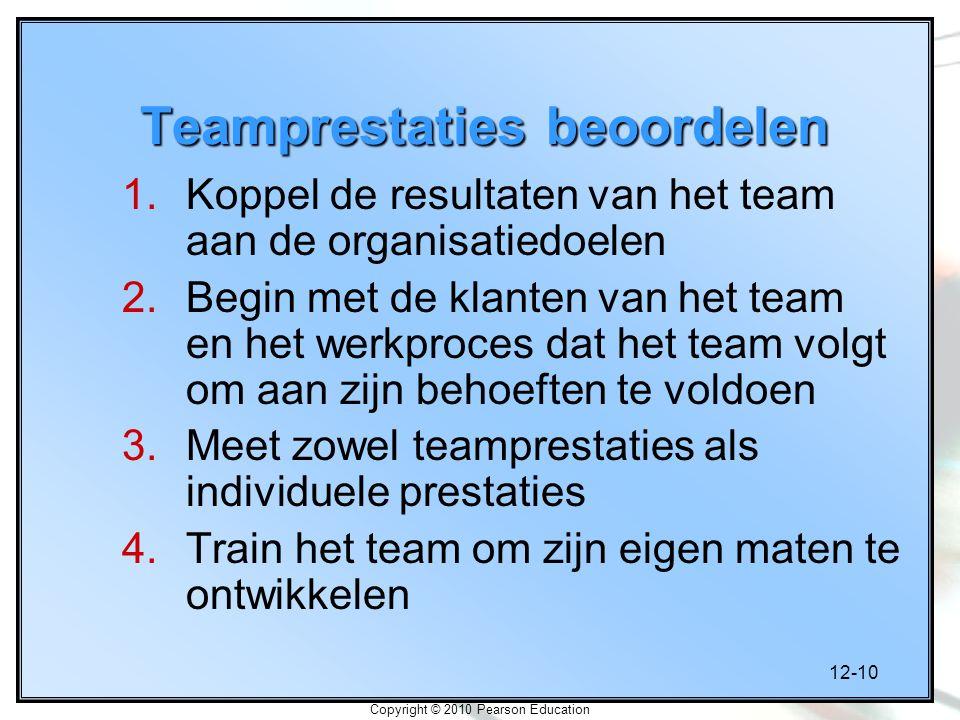 12-10 Copyright © 2010 Pearson Education Teamprestaties beoordelen 1.Koppel de resultaten van het team aan de organisatiedoelen 2.Begin met de klanten van het team en het werkproces dat het team volgt om aan zijn behoeften te voldoen 3.Meet zowel teamprestaties als individuele prestaties 4.Train het team om zijn eigen maten te ontwikkelen