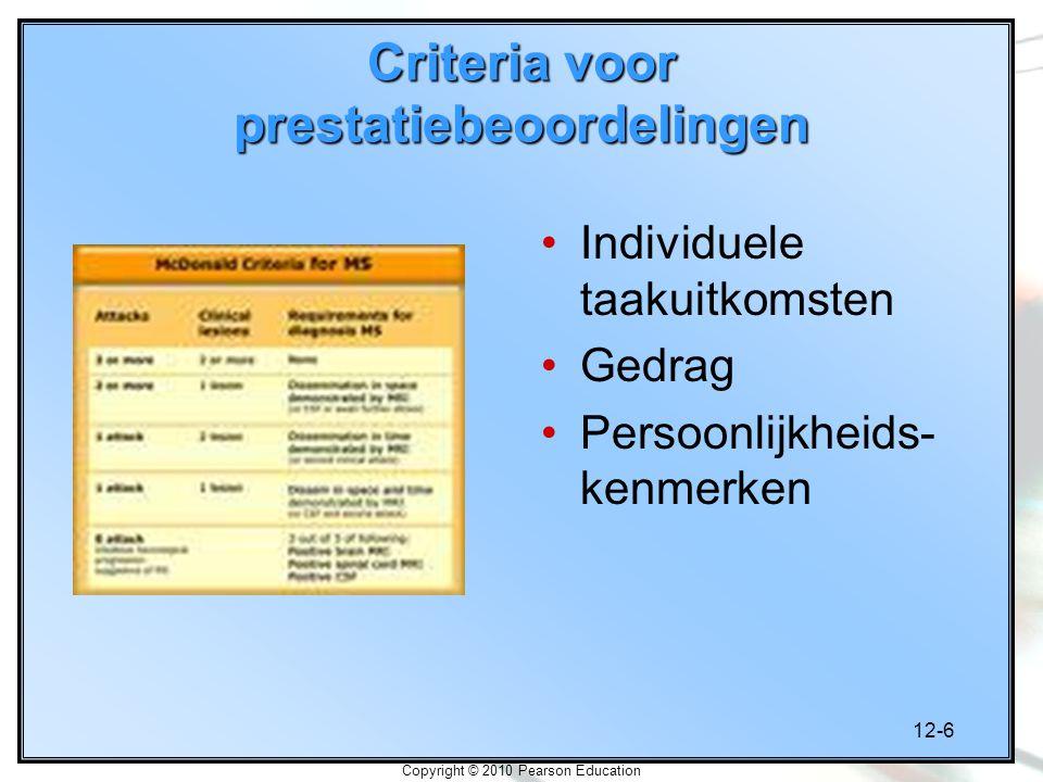 12-6 Copyright © 2010 Pearson Education Criteria voor prestatiebeoordelingen Individuele taakuitkomsten Gedrag Persoonlijkheids- kenmerken