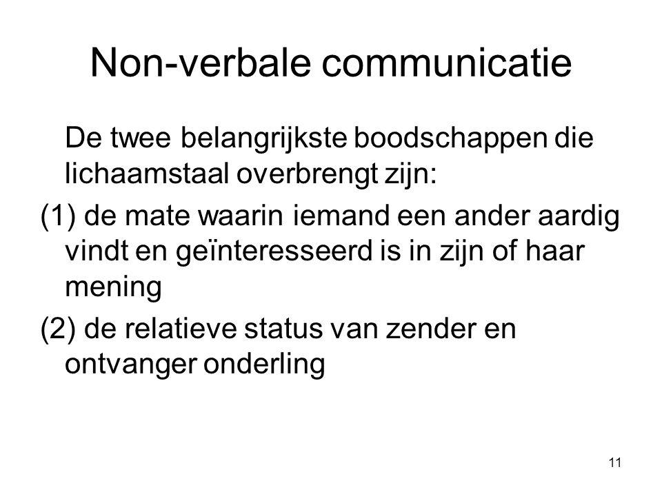 11 Non-verbale communicatie De twee belangrijkste boodschappen die lichaamstaal overbrengt zijn: (1) de mate waarin iemand een ander aardig vindt en geïnteresseerd is in zijn of haar mening (2) de relatieve status van zender en ontvanger onderling