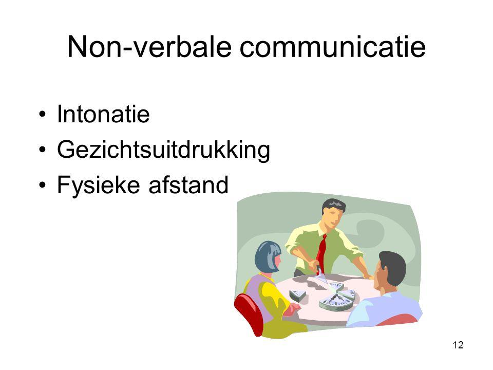 12 Non-verbale communicatie Intonatie Gezichtsuitdrukking Fysieke afstand