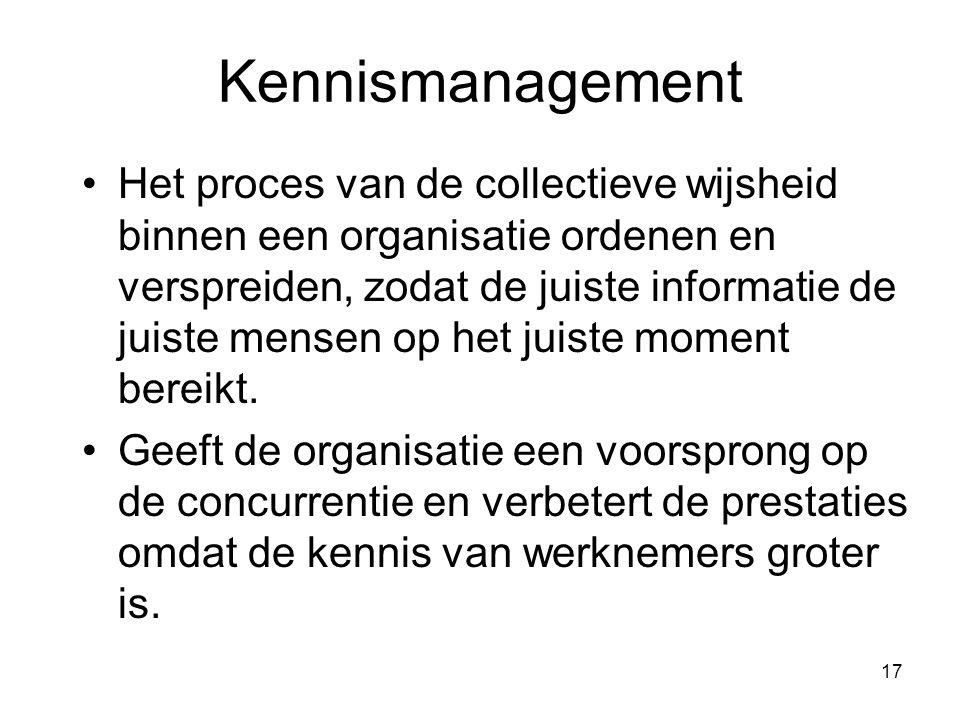 17 Kennismanagement Het proces van de collectieve wijsheid binnen een organisatie ordenen en verspreiden, zodat de juiste informatie de juiste mensen op het juiste moment bereikt.