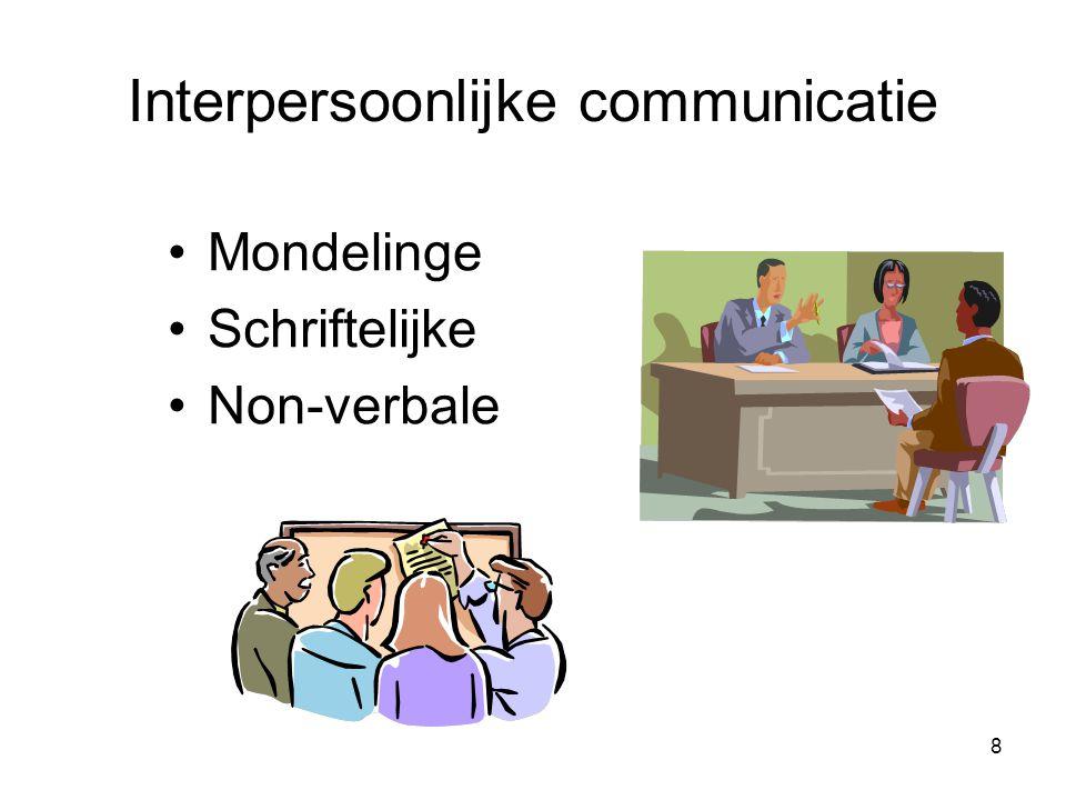 9 Mondelinge communicatie Voordelen –snelheid –feedback Nadelen –Mogelijke vertekening van de boodschap –Inhoud is op eindbestemming vaak anders dan de zender oorspronkelijk bedoelde