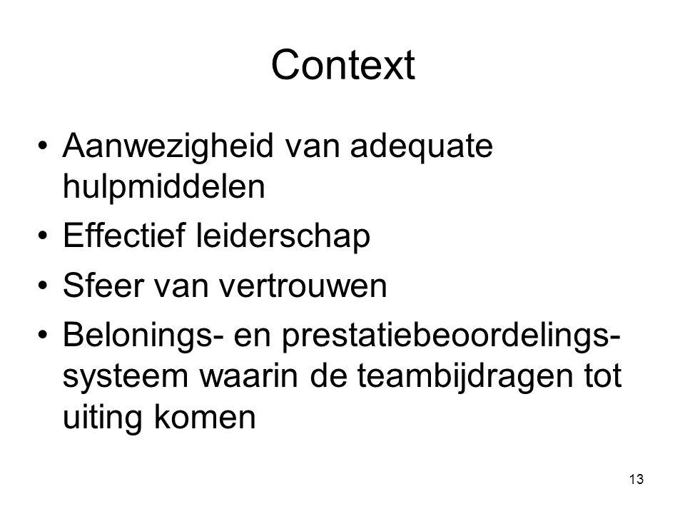 13 Context Aanwezigheid van adequate hulpmiddelen Effectief leiderschap Sfeer van vertrouwen Belonings- en prestatiebeoordelings- systeem waarin de te