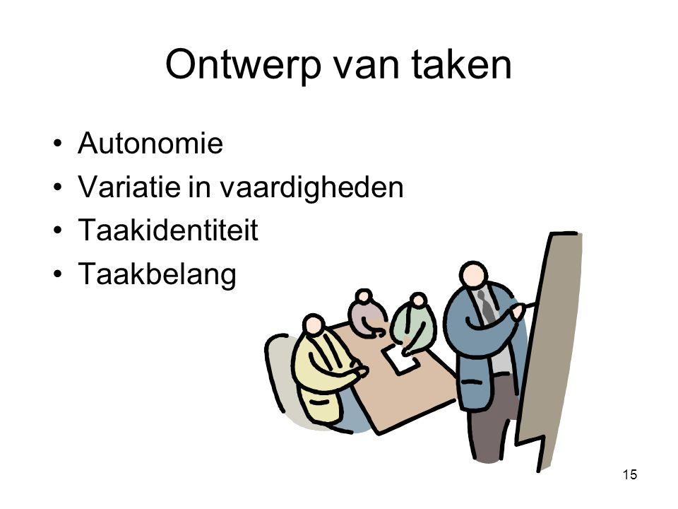 15 Ontwerp van taken Autonomie Variatie in vaardigheden Taakidentiteit Taakbelang