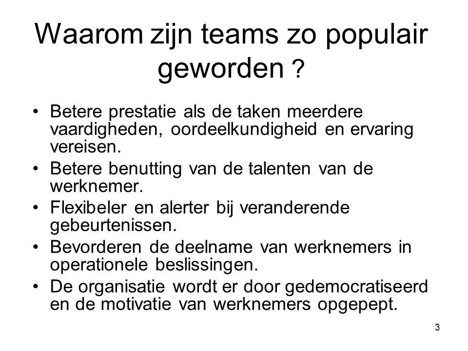 3 Waarom zijn teams zo populair geworden ? Betere prestatie als de taken meerdere vaardigheden, oordeelkundigheid en ervaring vereisen. Betere benutti