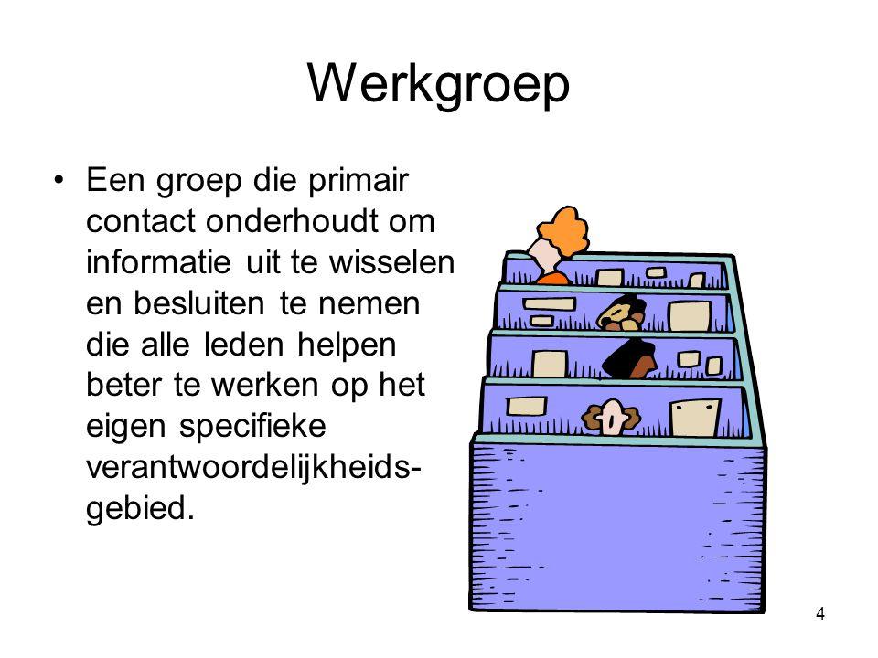 4 Werkgroep Een groep die primair contact onderhoudt om informatie uit te wisselen en besluiten te nemen die alle leden helpen beter te werken op het