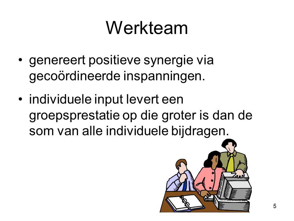 5 Werkteam genereert positieve synergie via gecoördineerde inspanningen. individuele input levert een groepsprestatie op die groter is dan de som van