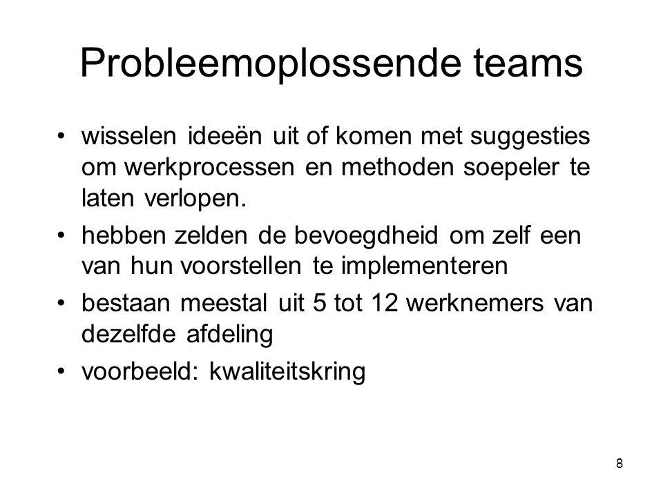 8 Probleemoplossende teams wisselen ideeën uit of komen met suggesties om werkprocessen en methoden soepeler te laten verlopen. hebben zelden de bevoe