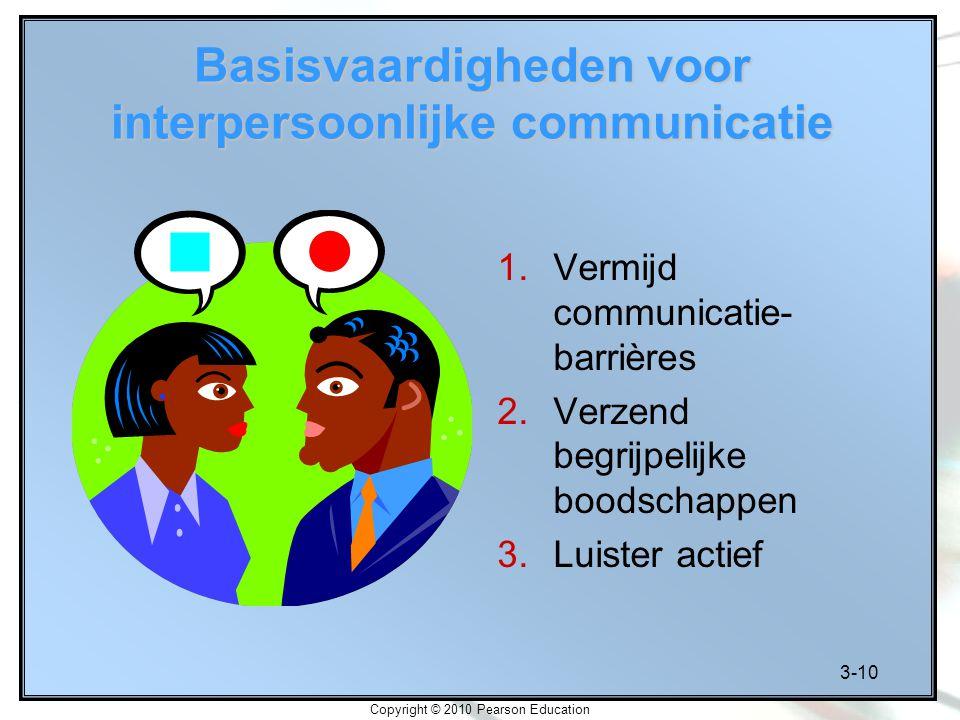 3-10 Copyright © 2010 Pearson Education Basisvaardigheden voor interpersoonlijke communicatie 1.Vermijd communicatie- barrières 2.Verzend begrijpelijk